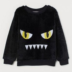 Toddler Black Faux Shearling Monster Sweatshirt